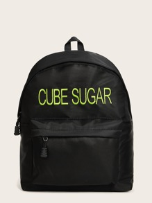Slogan Embroidery Backpack