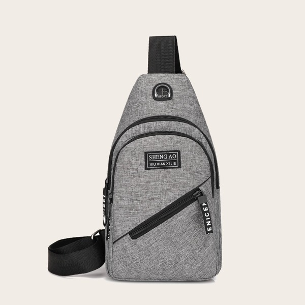 Men Zip Front Sling Bag, Grey