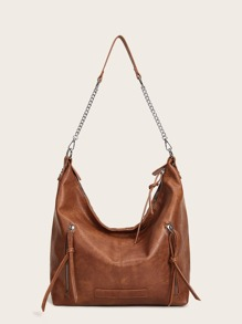 Double Zipper Chain Link Hobo Bag