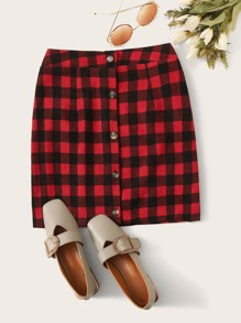 Button Through Gingham Straight Skirt
