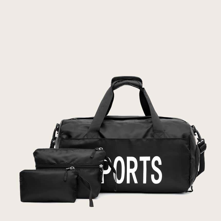 чёрный Текст Повседневный Набор сумок