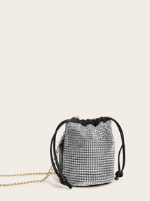 Rhinestone Drawstring Chain Bucket Bag