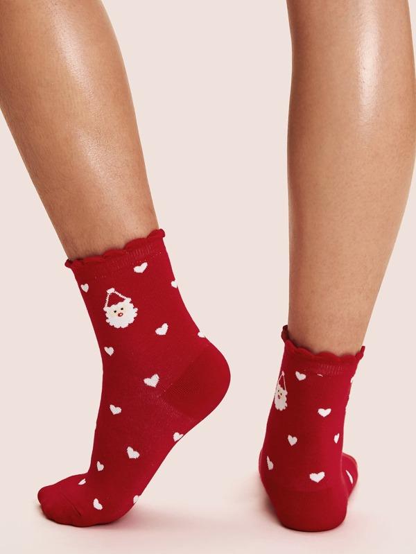 1pair Christmas New Year Heart Pattern Socks