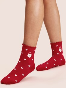 1pair Christmas Heart Pattern Socks