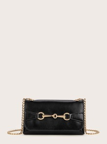 Metal Front Studded Detail Chain Crossbody Bag