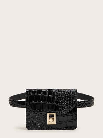 Twist Lock Croc Embossed Fanny Pack