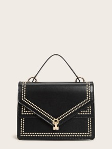 Studded Trim Metal Lock Adjustable Satchel Bag