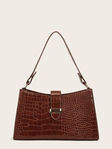 Croc Embossed Adjustable Baguette Bag
