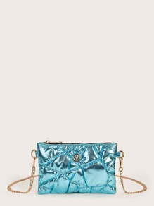 Metallic Quilted Metal Detail Chain Crossbody Bag