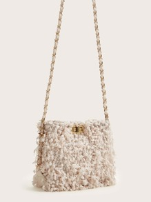 Feather Chain Bucket Bag