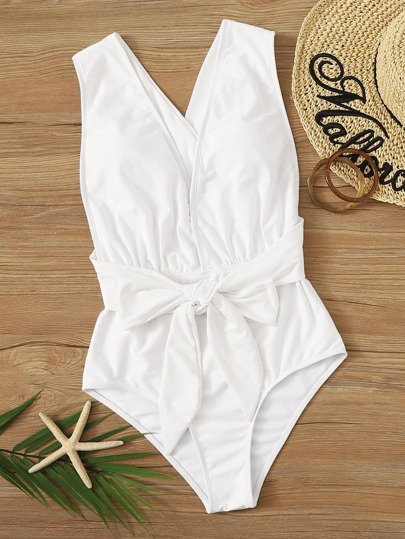Knot Front Criss Cross One Piece Swimwear
