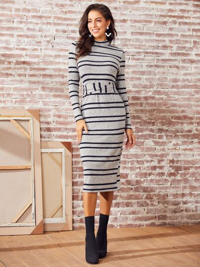 SBetro Striped Print Split Hem Belted Back Bodycon Dress