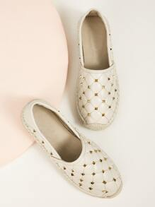 Studded Quilted Espadrille Slip On Flats