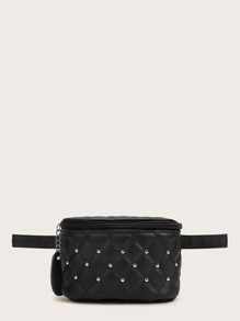 Studded Decor Quilted Fanny Pack