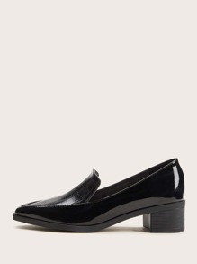 Coco Embossed Chunky Heel Loafers