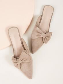 Bow Front Point Toe Mule Flats