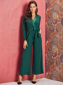 SBetro Shawl Collar Belted Wide Leg Jumpsuit