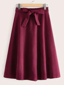 Solid Self Tie Flared A-line Skirt