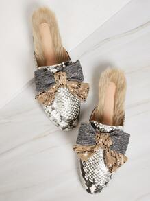 Glitter Bow Front Faux Fur Lined Mule Flats