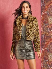 SBetro Leopard Hook and Eye Crop Faux Fur Coat