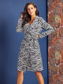 SBetro Zebra Stripe Double Button Wrap Belted Coat