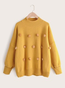 Solid Pom Pom Mock Neck Sweater