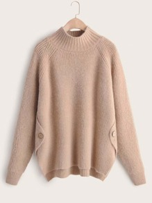 High Neck Button Detail Sweater