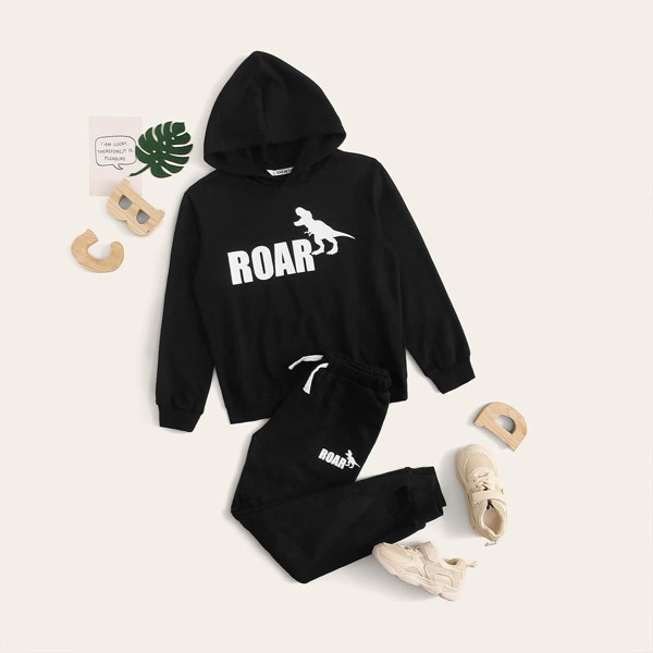 Boys Dinosaur and Letter Graphic Hoodie and Joggers Set, Black