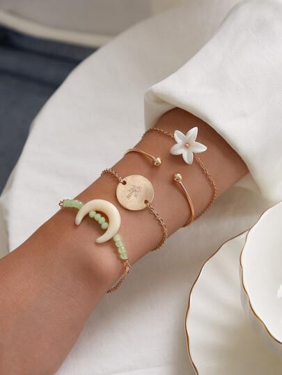 4pcs Moon & Flower Decor Bracelet Set