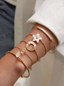 5pcs Lily Flower Decor Bracelet Set