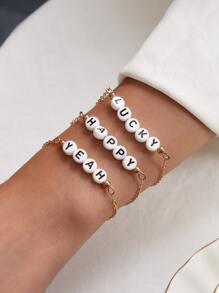 3pcs Letter Print Bead Decor Chain Bracelet