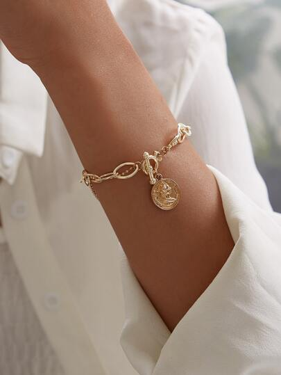 Coin & Buckle Decor Chain Bracelet 1pc