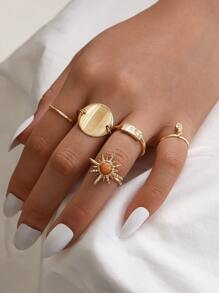 5pcs Round Disc Decor Bracelet Set