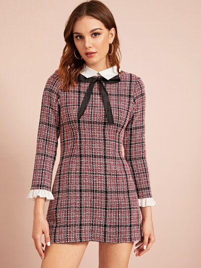 Plaid Tie Detail Ruffle Cuff Tweed Dress