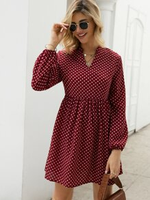 Notched Polka Dot Smock Dress