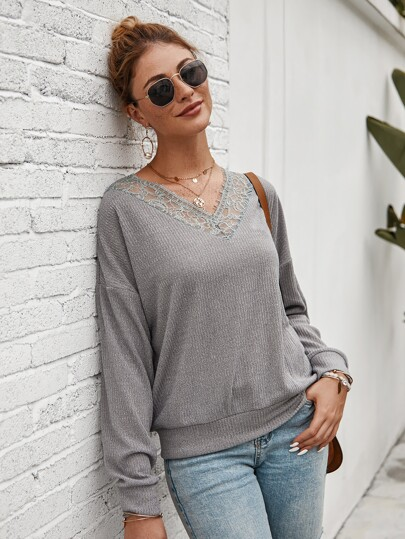 Contrast Lace V-Neck Solid Sweater