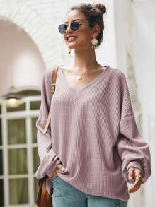 Solid V-Neck Waffle Knit Oversized Sweater