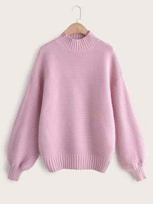 Drop Shoulder Stand Neck Ribbed Sweater