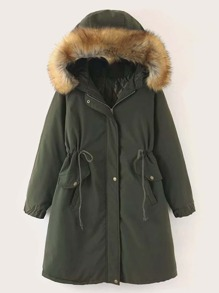 Flap Pockets Drawstring Waist Parka Coat