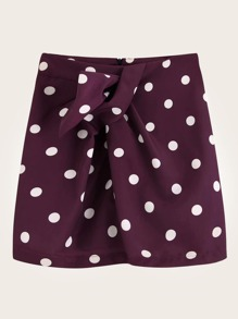 Twist Front Polka Dot Mini Skirt