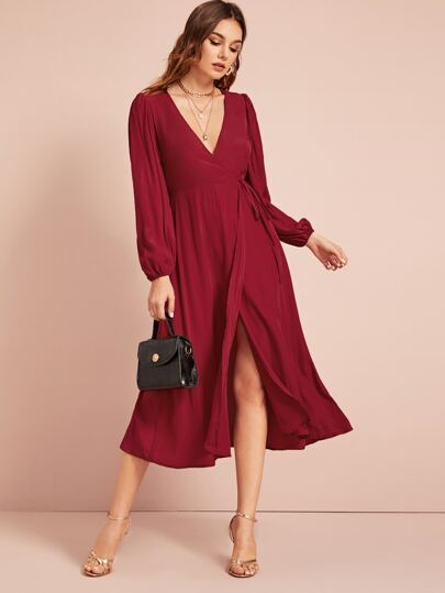 Self Tie Bishop Sleeve Wrap Dress
