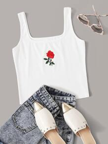 Rose Embroidery Rib-knit Tank Top