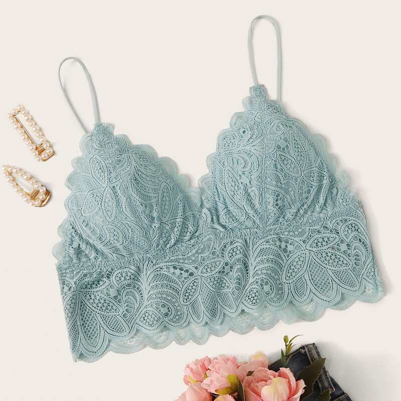 Floral Lace Bralette, Green