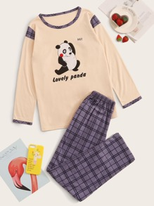 Cartoon Panda Print Plaid PJ Set