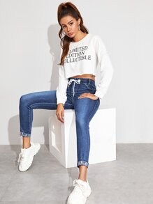 Embroidery Rolled Hem Jeans