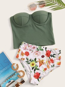 Underwire Bandeau With Floral Ruched High Waist Tankini