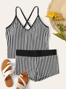 Striped Criss Cross Top With Shorts Tankini