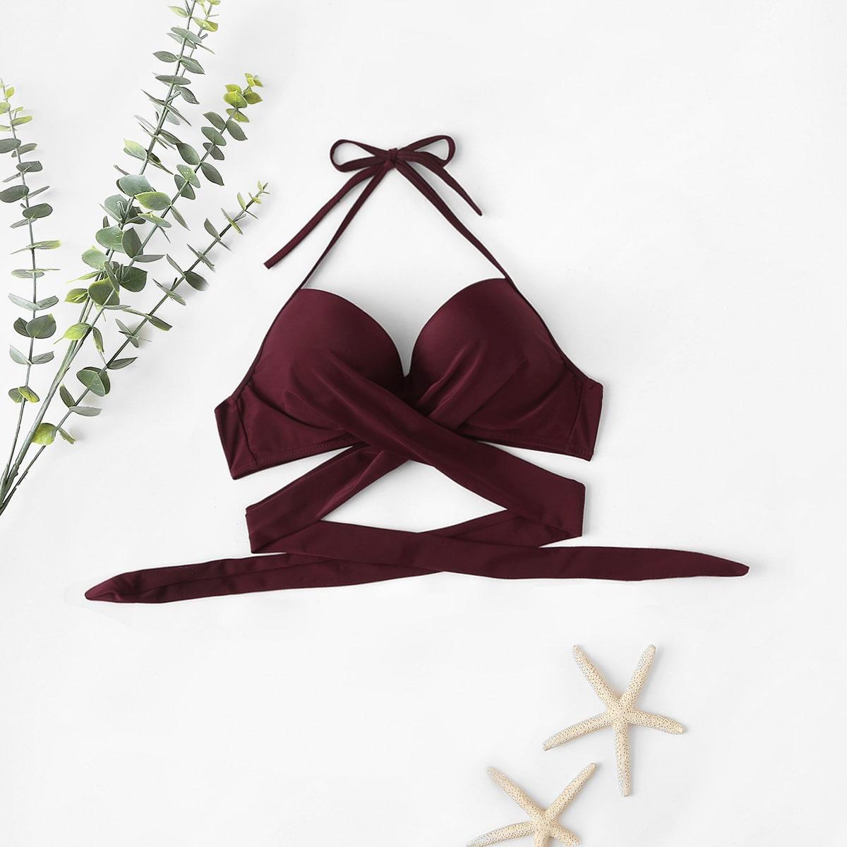 Bikini Top mit Kreuzgurt, Neckholder und Bügel