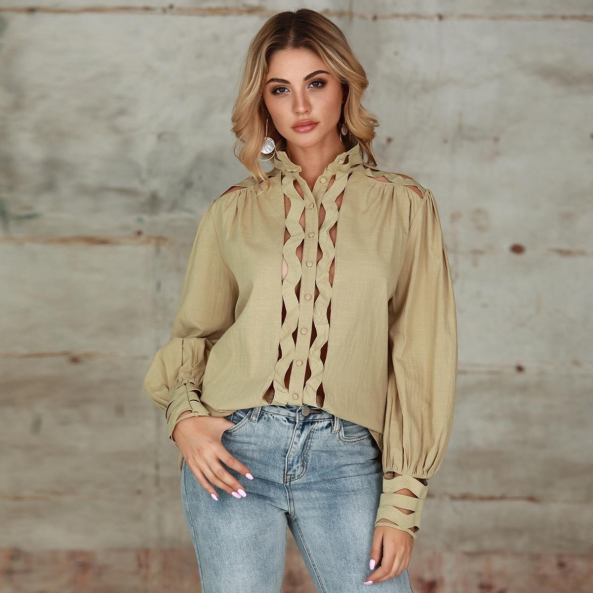 Double Crazy блуза с оригинальным рукавом и пуговицами