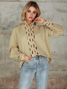 Double Crazy Cut Out Bishop Sleeve Button Front Blouse